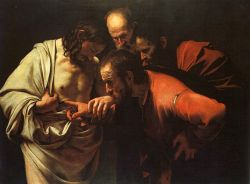 The Incredulity of Saint Thomas. 1602 painting by Caravaggio (1571-1610)
